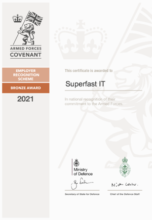Armed Forces Covenant Employer Recognition Scheme Bronze award for Superfast IT