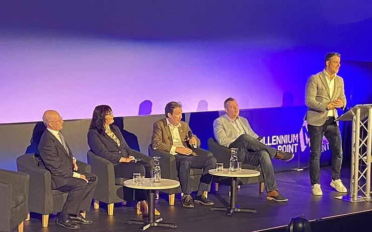 Birmingham Tech Week Alastair Speare-Cole Cyber risk and insurance, Racheal Percival, Chris Woods, Bill Orme at Cyber Tuesday