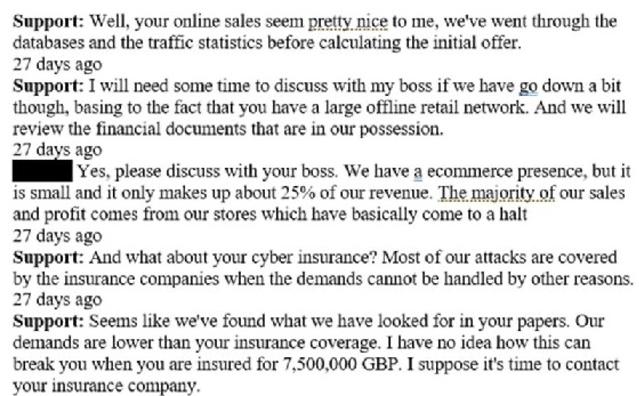 Cyber attack negociation between Conti and FatFace
