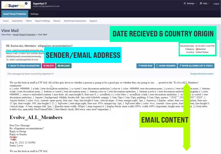 Email quarantine portal