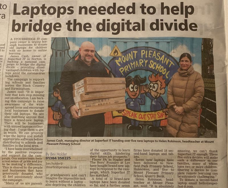 News clipping - James Cash, Managing Director, Superfast IT and Mrs Helen Robinson, Head Teacher at Mount Pleasant Primary School