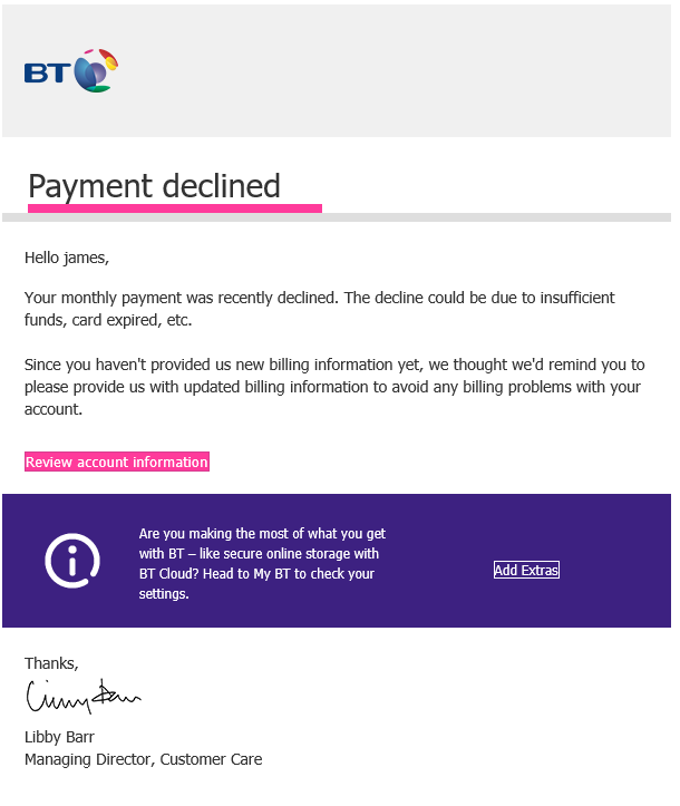 BT Phising email