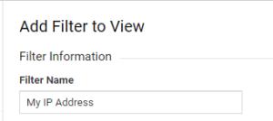 Filter Name Google Analytics