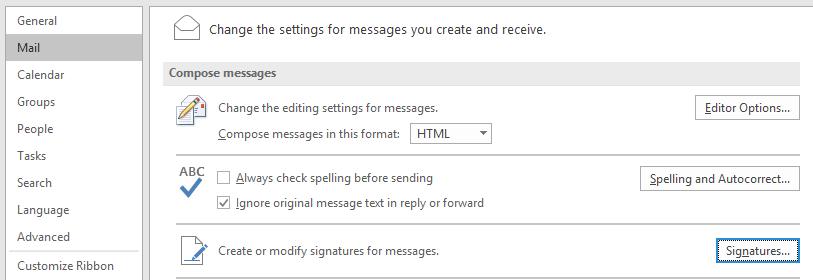 Outlook signature location